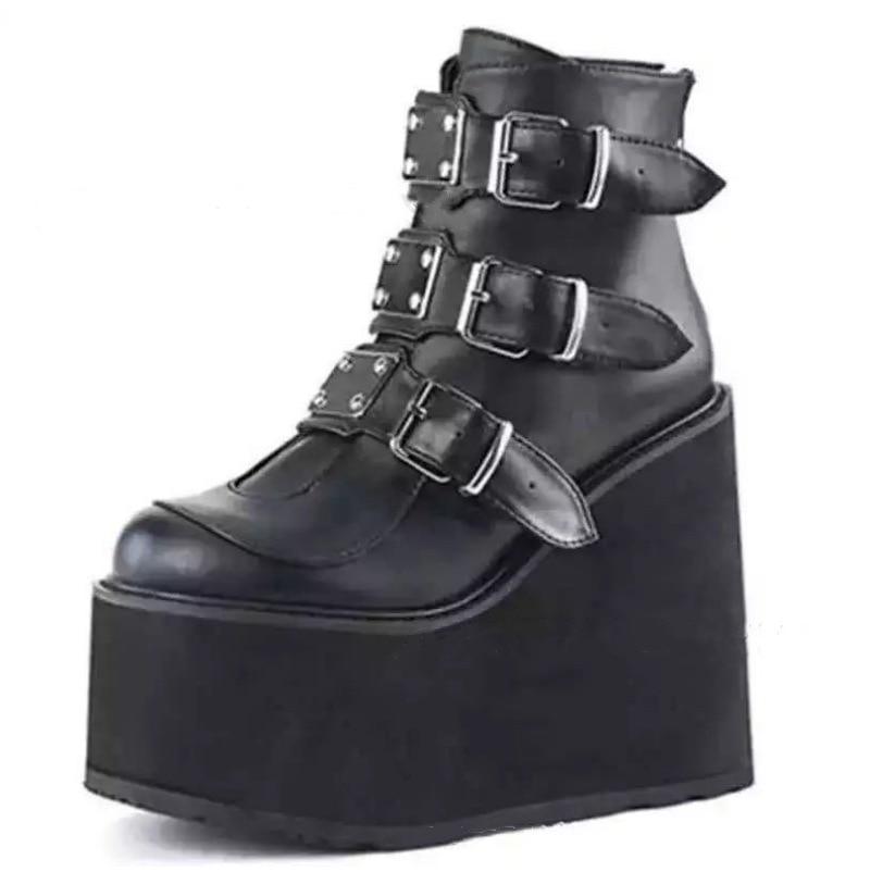 Winter Metal Buckle Ankel Boots Women Punk Female Platform Boots Wedges High Heels PU Women Boots Bo