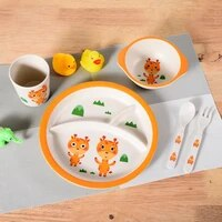 5pcstableware set bamboo cartoon baby dishes plate bowl spoon fork cup solid food self feeding for kids children creative gift
