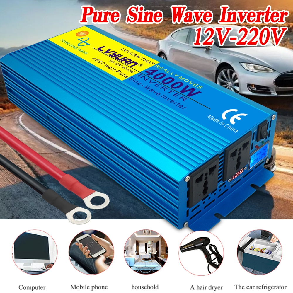Power Inverter 4000W Auto/ausflug/Home Digital-Display REINE SINUS WELLE POWER INVERTER DC12V/24V zu AC 220V CAMPING BOOT INVERTER