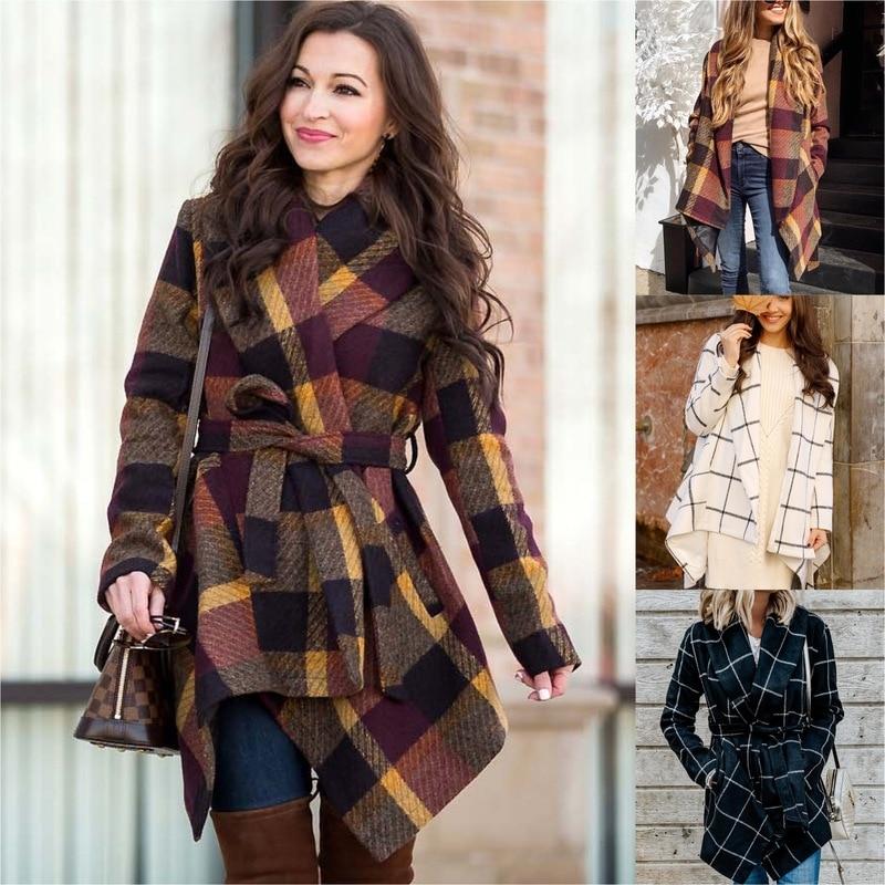 Las mujeres de Invierno nuevo abrigo de lana abrigo de manga larga...