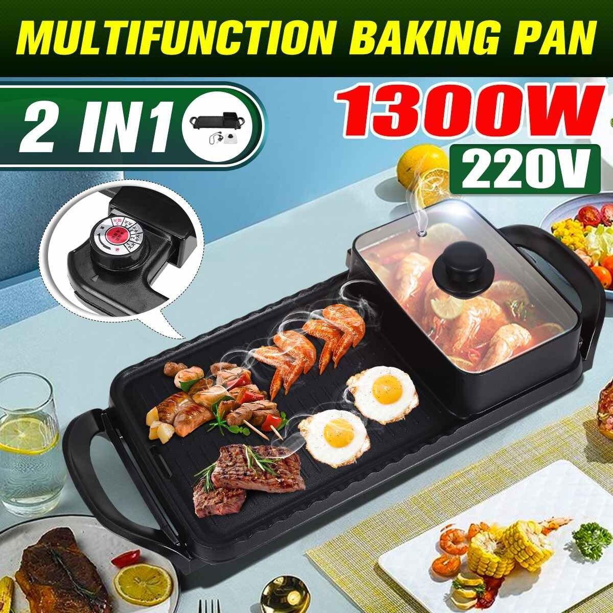 Электрический гриль для барбекю 1300 Вт 2 в 1, электрический гриль для барбекю и горячий горшок, мультиварка, жареная плита Smokel Nonsti, гриль 220 В