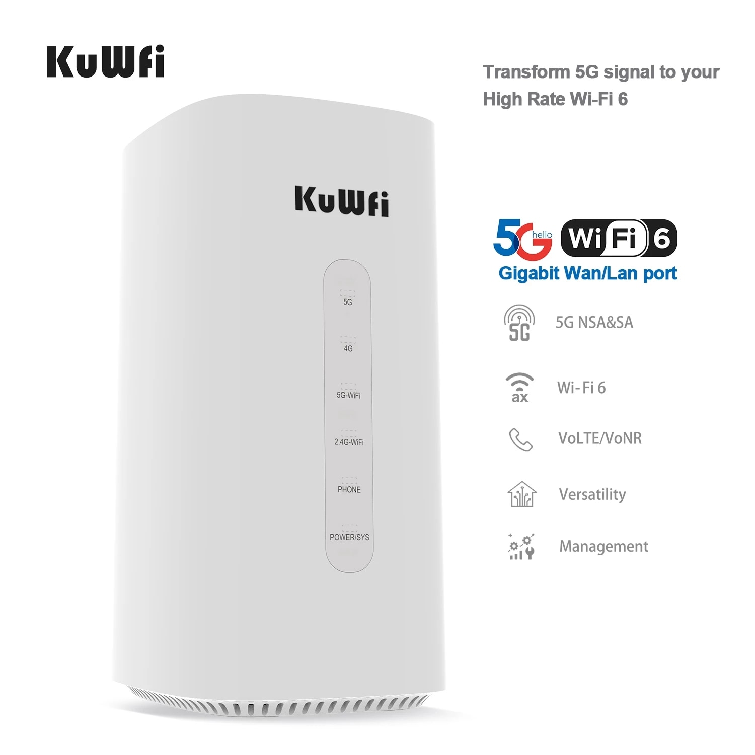 KuWFi 5G Wireless Router CPE& LTE-A Coverage 802.11ax 2.5Gbps  Unlocked High Rate Gigabit Wi-Fi 6  4G WiFi 5G NR networkRouter