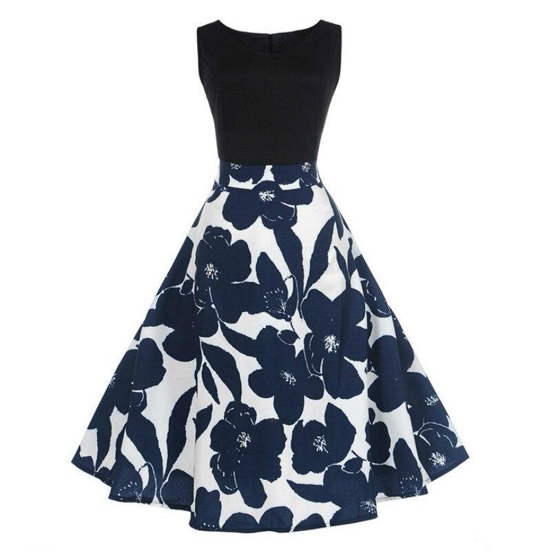 Women Summer Dress 2019 Contrast Color Clothing Floral Robe Retro Swing Casual 50s Vintage Rockabilly Dresses Vestidos Jupe