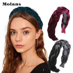MOLANS Braided Padded Headband Solid Velvet Hair Band Women's Fashion Hair Hoop Retro Headwear New Arrival Hair Accessories