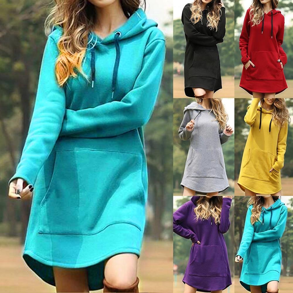 Винтажное женское весеннее платье с капюшоном и длинным рукавом, свободное Повседневное платье 3XL, женское платье в стиле ретро, женские платья миди с карманами