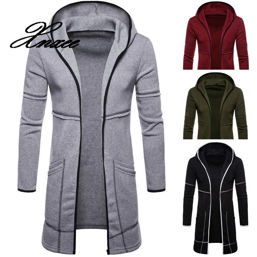 Фото - Xnxee Men's Jacket Hooded Sportswear Fashion Mens Hooded Solid Trench Coat Jacket Cardigan Long Sleeve Outwear Blouse Jacket fuzzy hooded jacket