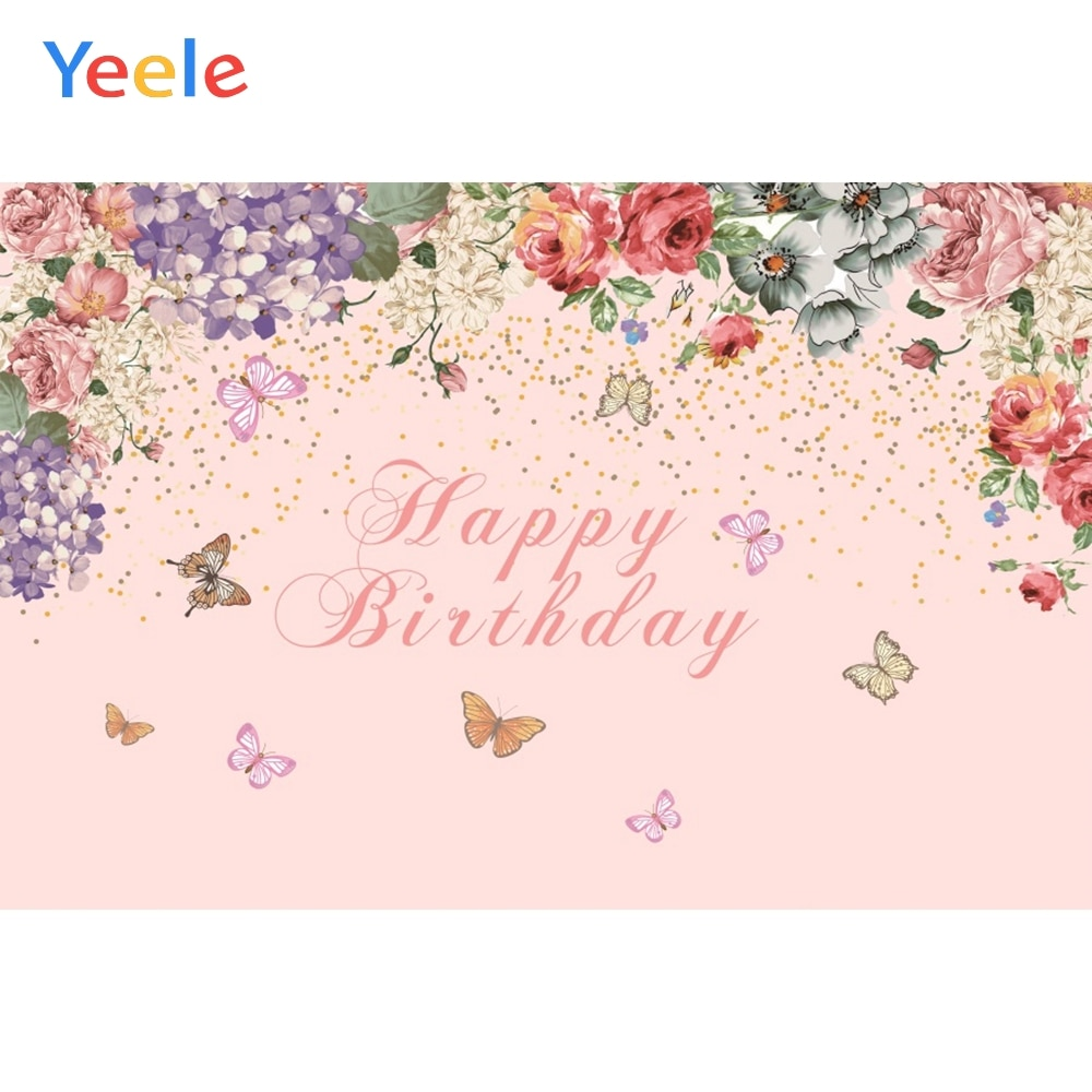 Yeele Baby Happy Birthday Photography Backdrops Pink Watercolor Flower Custom Background Butterfly Girl Dessert Decorate Props allenjoy photography backdrops background stage dancers pink green bokeh watercolor baby shower newborn props spring princess
