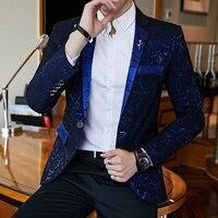 luxury party prom blazer shinny yarn wine red blue black contrast collar dress dinner blazer homme slim fit suit coat jacket