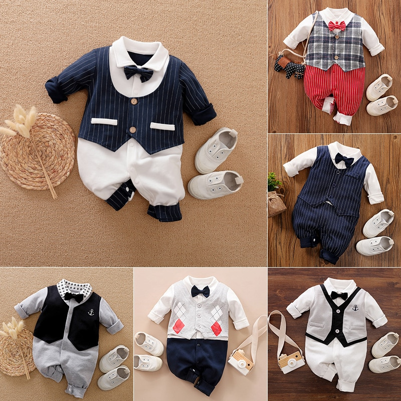 YiErYing Newborn Baby Rompers Spring Autumn Jumpsuit Overalls  Gentleman Cotton Outfit with Bow Tie