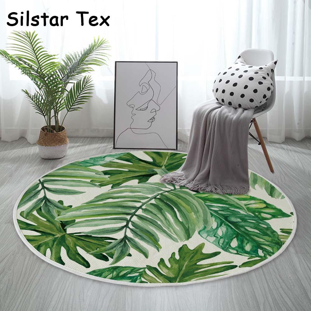 Silstar tex folha tropical padrão algodão tapete redondo sala de estar decoração para casa crianças jogar esteira diâmetro 90cm