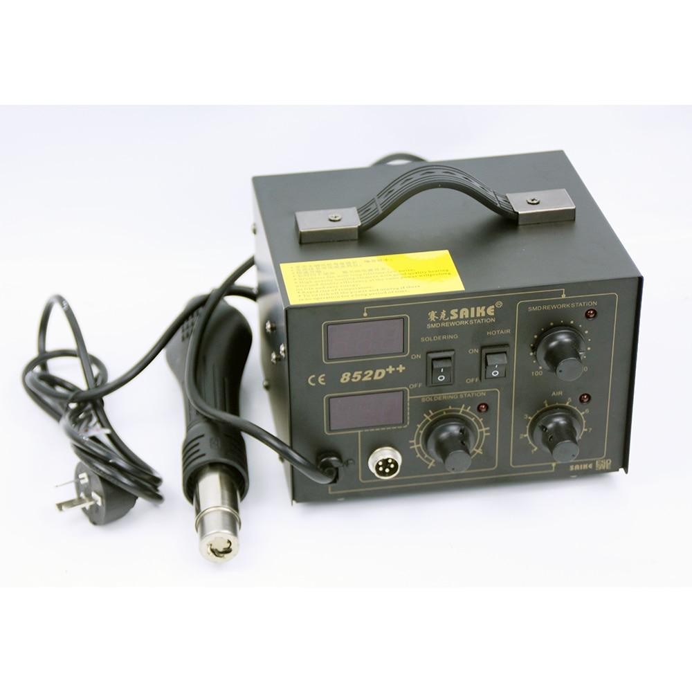 SAIKE 852D++ 2 in 1 SMD Rework Station Hot air gun soldering station Desoldering station  Heat Gun BGA 220V 110V enlarge