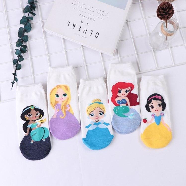 Novedad de verano, calcetines de algodón con dibujos animados de Princesas de Disney para niñas, nieve blanca, calcetines cortos transpirables antideslizantes Anna