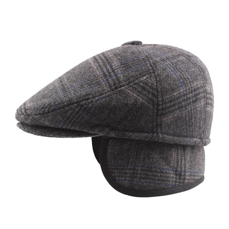 Warm Winter Beret Hats with Ear Flap Men Retro Caps Stripe Black Wool Felt Hats for Women Thick Forward Flat Ivy Cap Dad Hat
