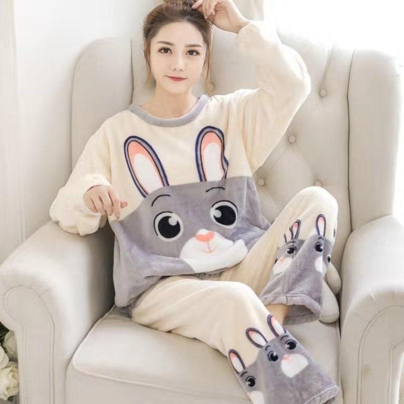 2021 Autumn Winter Warm Flannel Women Pyjamas Sets Thick Coral Velvet Long Sleeve Cartoon Sleepwear Thin Pajamas Set