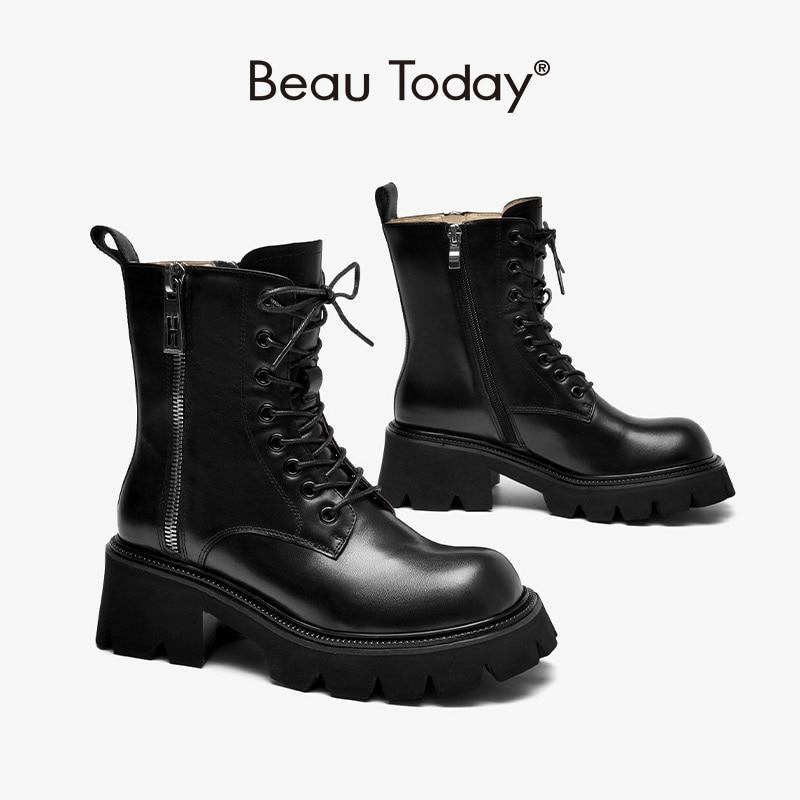 BeauToday دراجة نارية أحذية النساء جلد العجل منصة حذاء من الجلد مزدوجة الجانب سحابات الشارع نمط السيدات أحذية 04449