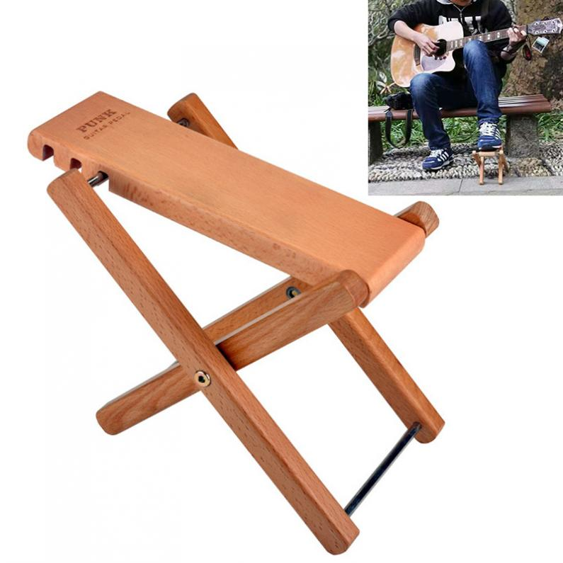 Guitar Pedal Footstool  Solid Wood Folding with 3 Levels Height Adjustable Stand Footboard Guitar Accessories