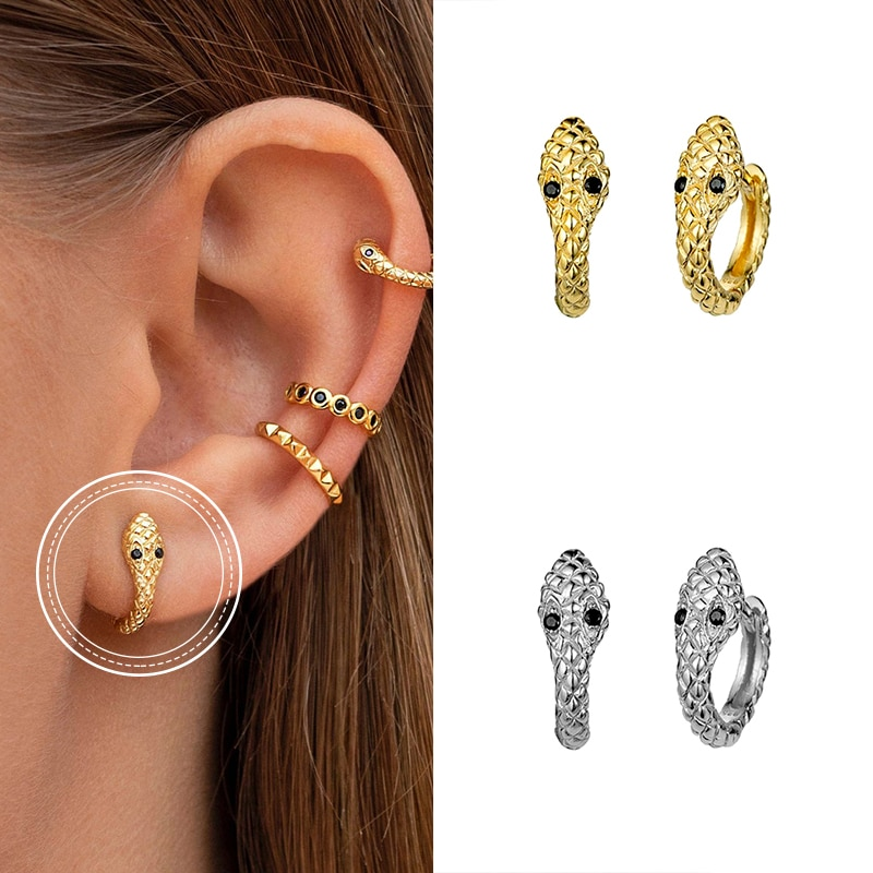 MC 925 Sterling Silver Small Hoop Earrings for Women Simple Gold Silver color Round Ear Rings Chain Snake Circle Earring Jewelry superwear 925 sterling silver hoop earrings with charm yellow gold color women men round coin pendant earring vintage jewelry
