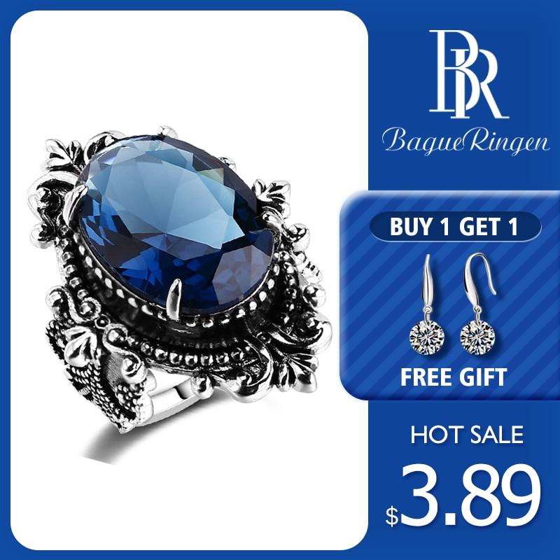 Bague anneau nouveauté Vintage grand ovale saphir Gemstome anneaux pour femmes hommes 925 Bague en argent Sterling anniversaire fête cadeaux