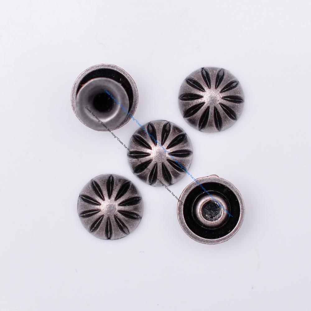 50 pçs 9*9mm biker punk vintage flor de prata gravado leathercraft rebites ponto rápido studs conchos