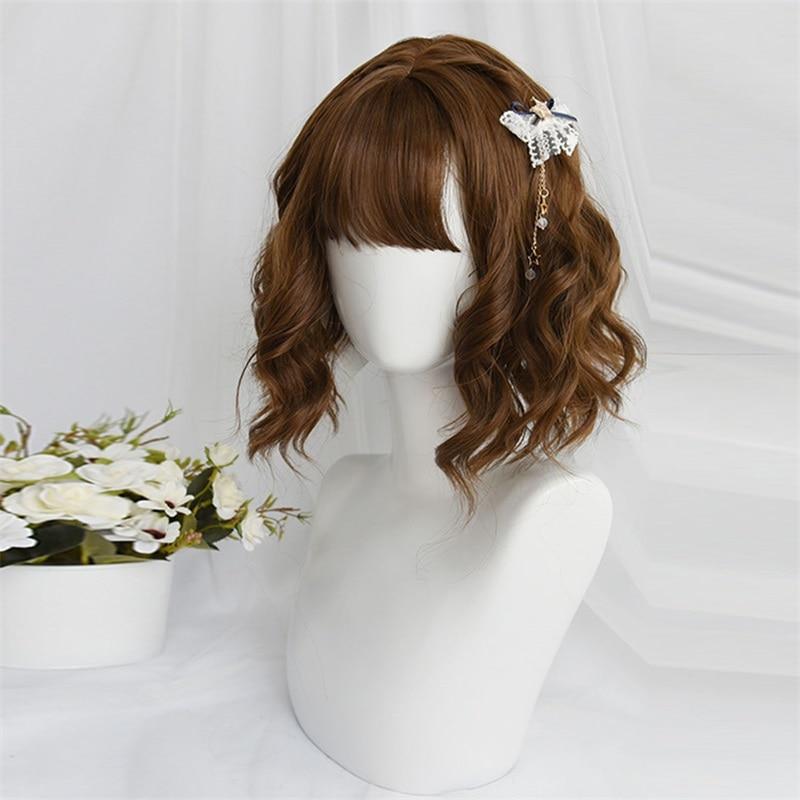 Cosplaysalon 25-30CM Lolita Wavy Bob Brown Blonde Blue Black Cute Ombre Bangs Short Daily Party Synthetic Hair Cosplay Wig+Cap