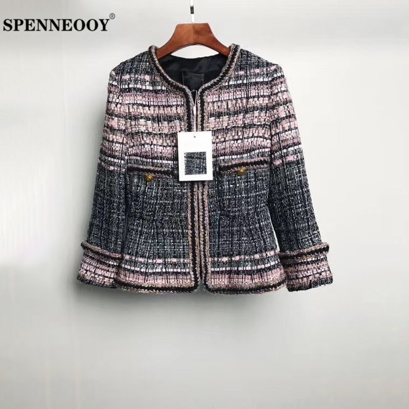 Diseñador SPENNEOOY, prendas de vestir tejidas gruesas personalizadas de otoño para mujer, forro de seda de manga larga para mujer, prendas de vestir con estampado Vintage 2020
