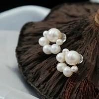 green purple fresh water pearl earrings for women cute flower freshwater pearl stud earrings fashion jewelry boucle doreille