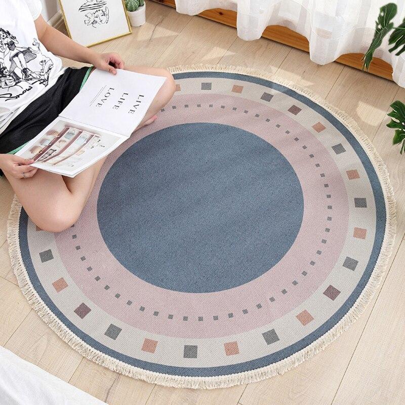 Alfombra India Retro geométrico, Alfombra de algodón redondo de lino, tapete de flores para dormitorio de 90CM, suelo Floral, alfombra para puerta, alfombra para juego de bebés