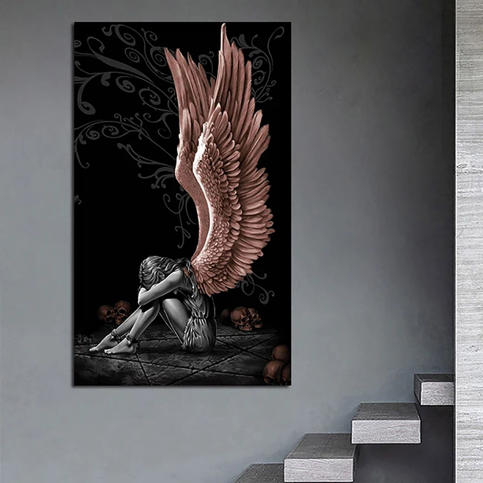 Angel Painting Gray Character Wings Skull Posters and Prints on Canvas Home Decor Living Room Poster #GM