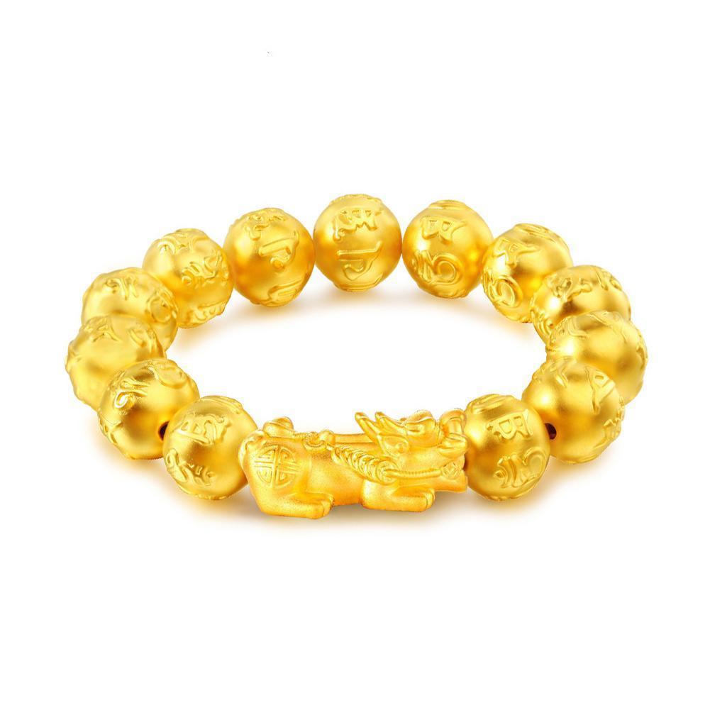 Unissex pulseira masculina mulher ouro cor pixiu riqueza mantra pulseira lucky d8h1