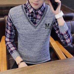 Cotton Spring Autumn Shirt Collar Men's Autumn Long Sleeve T-shirt Trend Wear Autumn T Shirt False Two - Piece Autumn Tops