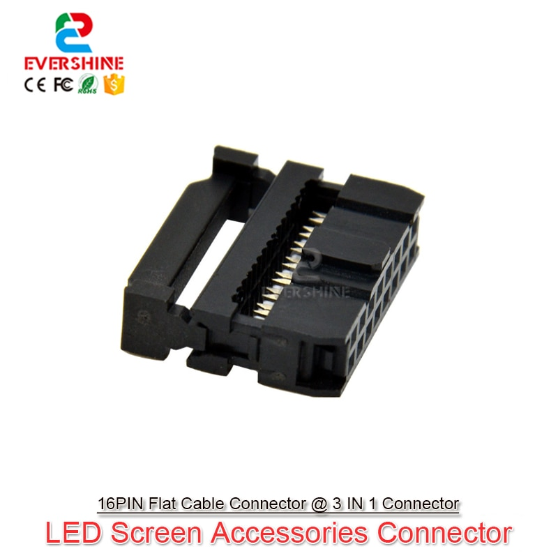 1000Pcs/Sets 3 Separate Parts 16Pin Black Color Connector Hub Data Cable Ends Terminal For LED Controller LED Module Connection