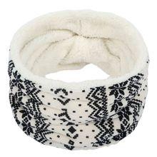 Hommes femmes hiver chaud tricoté anneau foulards imprimer épais à lintérieur Super élastique tricot silencieux bandana cou chauffe-cou écharpe