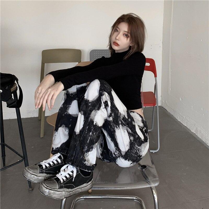 جديد ملابس الشتاء التخسيس الجينز المرأة العصرية الشارع Harajuku نمط الرجعية التعادل مصبوغ فضفاض عالية الخصر بنطال ذو قصة أرجل واسعة