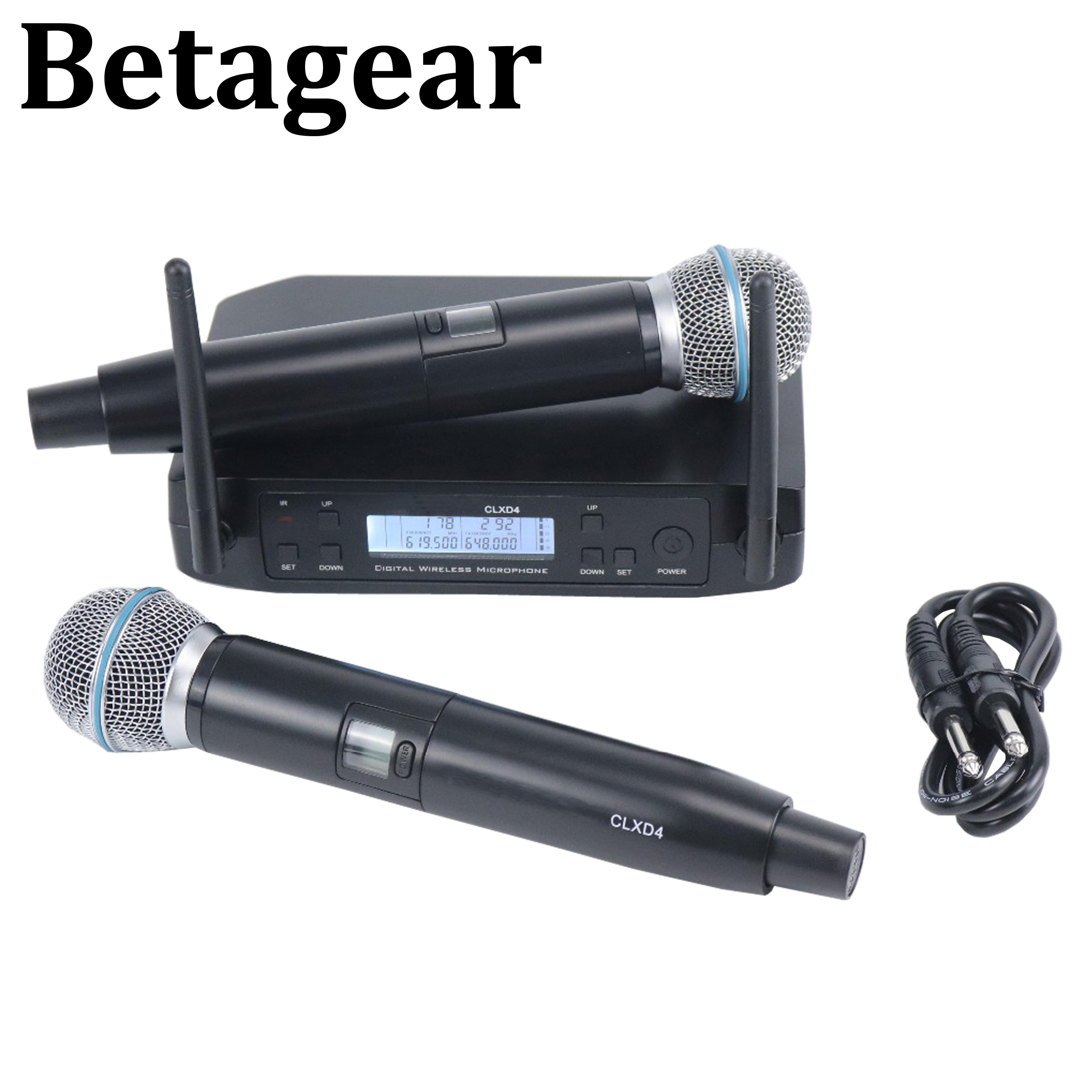 Betagear-Micrófono de karaoke Profesional GLXD4, inalámbrico, uhf, portátil, sistema con micrófono inalámbrico