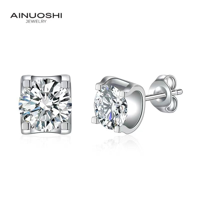 AINUOSHI Round Cut 1 Carat SONA Diamond Simple Bull Head  Stud Earrings For Women 925 Sterling Silver Fashion Jewelry Gift