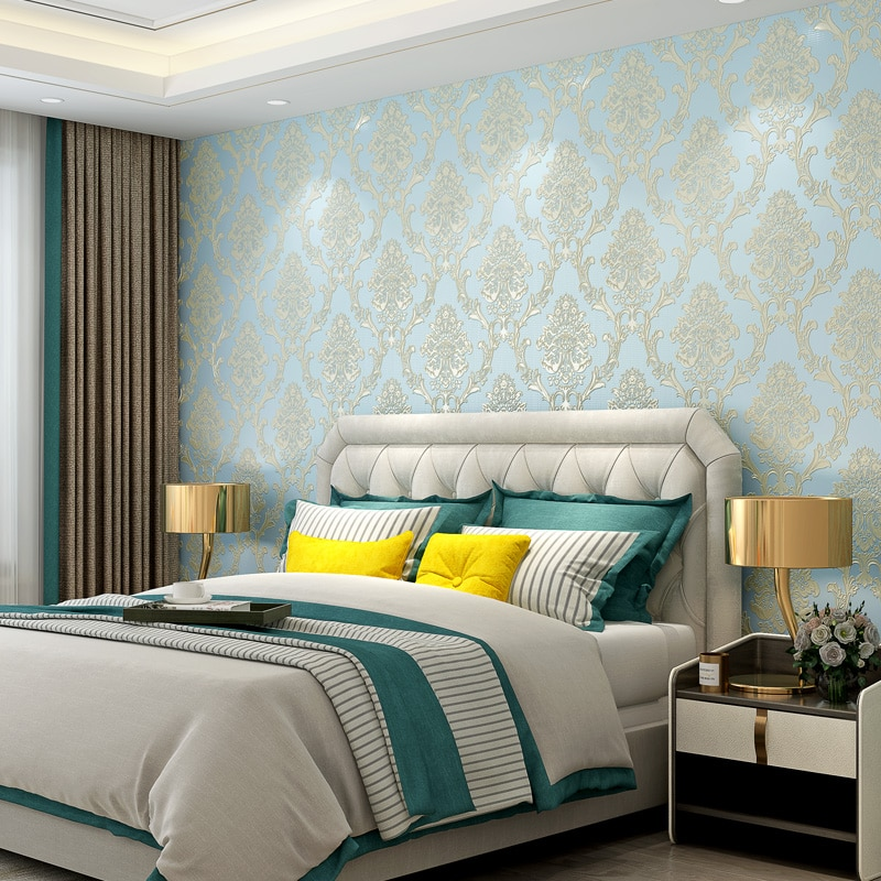2020 New Arrivals European Damask Wallpaper 3d Self Adhesive Blue Yellow White Pink Damascus Wallpapers Behind the TV Wall J098