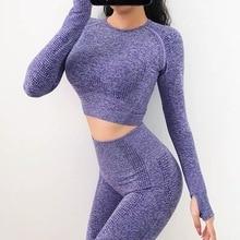 2 teile/satz Vital Frauen Sport Anzug Yoga Set Fitness-Workout Kleidung Langarm Fitness Crop Top + Hohe Taille Energie nahtlose Leggings