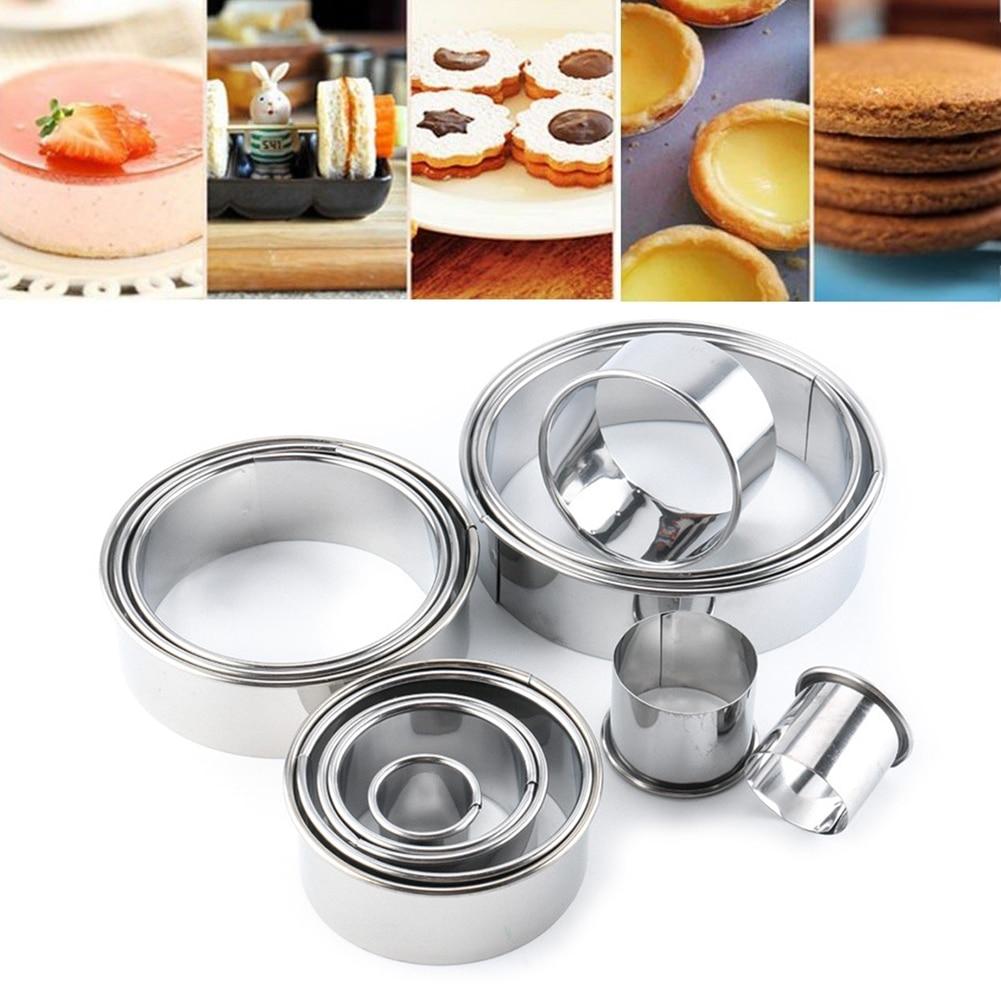 14 Uds DIY galletas cortador Kits de galletas torta molde donut redondo Acero inoxidable hornear círculo para fiesta pastelería de boda molde