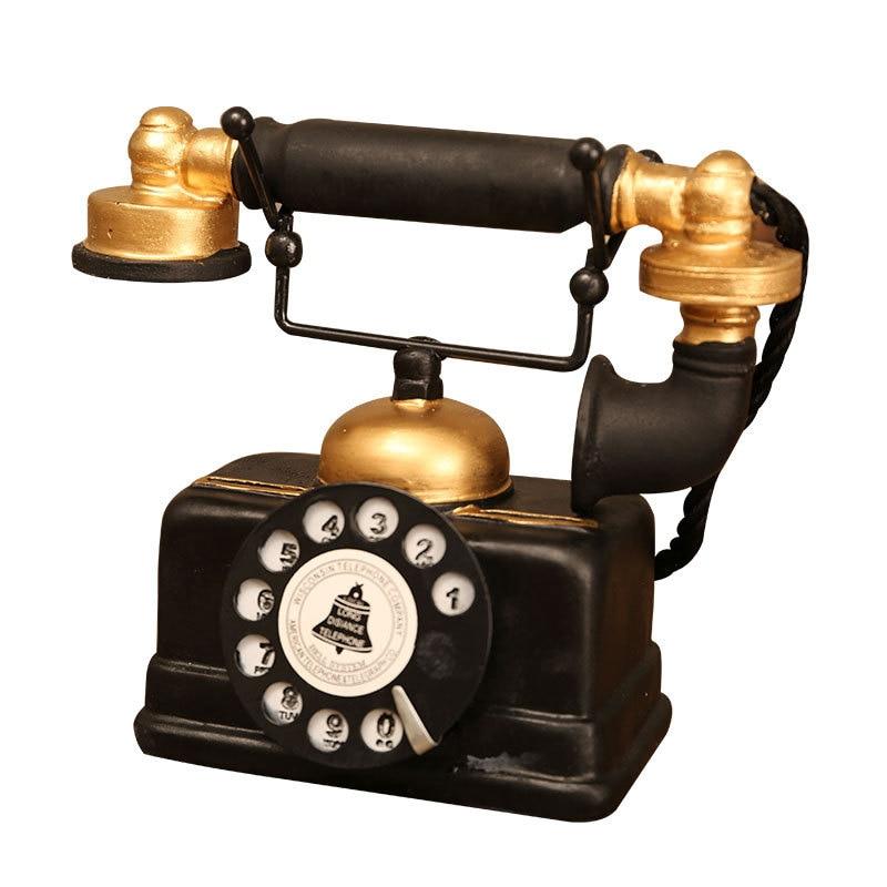 Vintage teléfono modelo de escultura figurita resina Retro arte estatuilla ornamento decoración del hogar Accesorios decoración de escritorio