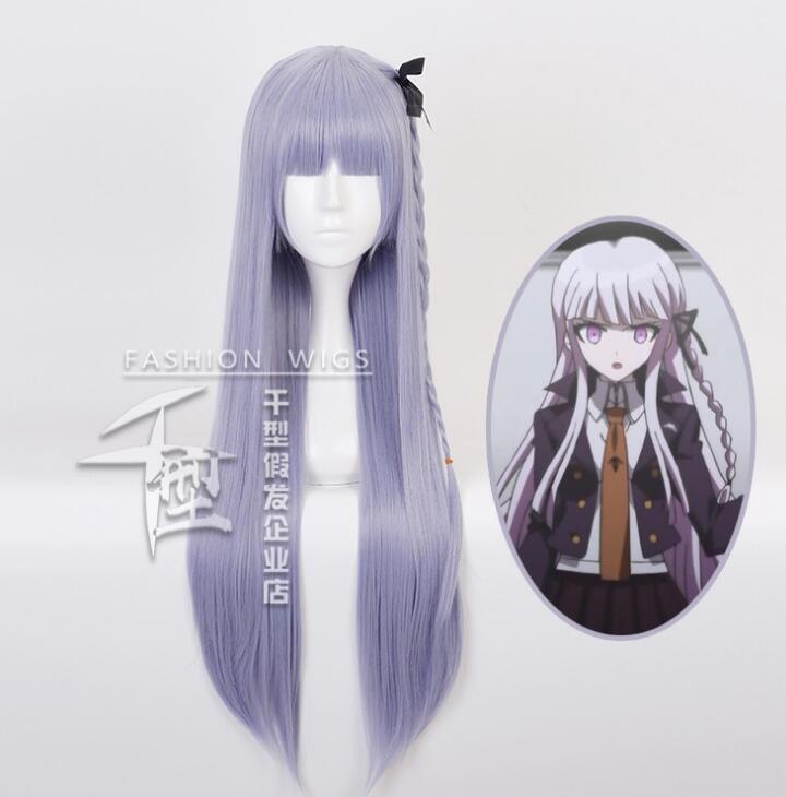 Anime Purple Long Wig Cosplay Danganronpa Kirigiri Kyouko Costume Dangan Ronpa Heat Resistant Synthetic Hair Women Cosplay Wigs new anime danganronpa backpack cosplay monokuma luminous canvas bag schoolbag dangan ronpa travel bags