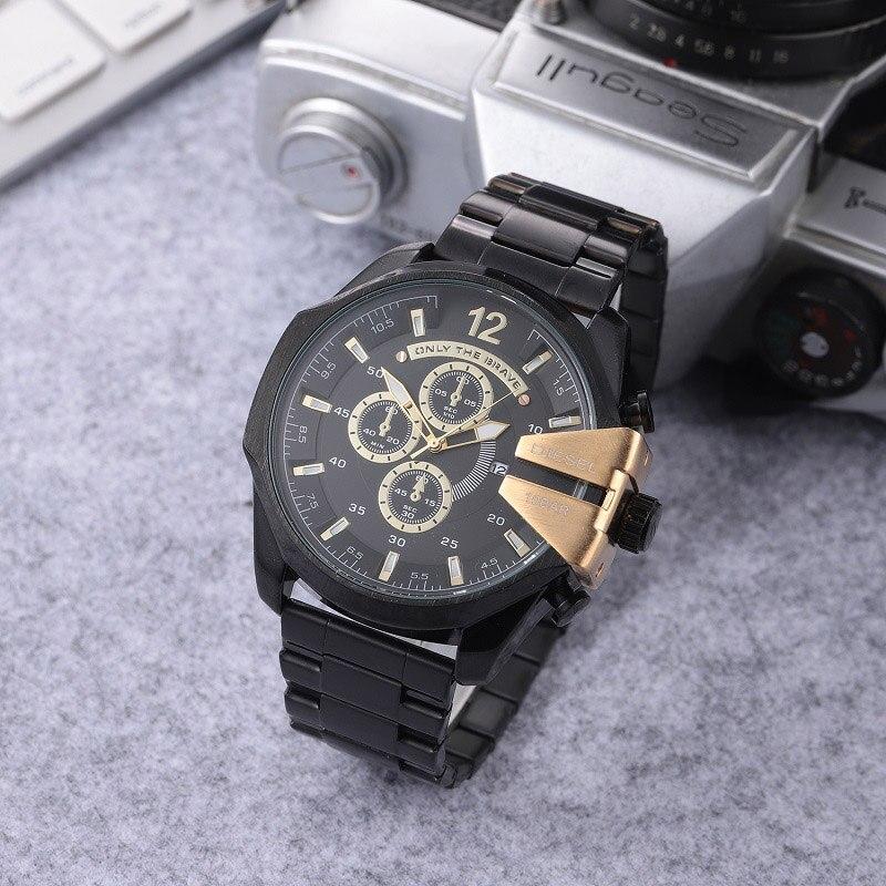 Luxury brand DZ 4338 men's watch fashion style dress wristwatches stainless steel strap quartz dual