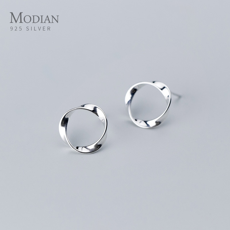 AliExpress - Modian Minimalism Round Design 925 Sterling Silver Push-back Women Fashion Simple Stud Earrings Jewelry Brincos Pendientes Mujer