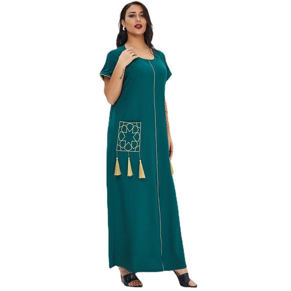Турецкий мусульманский халат, Новинка лета, Женская длинная юбка с коротким рукавом, платье Ближнего Востока в Дубае, богемный марокканский...