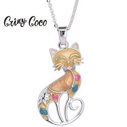 Colar de colar de colar de gato de coco bonito gargantilha para mulher fashin crianças criança liga esmalte animal pingentes colares presentes de festa 2020