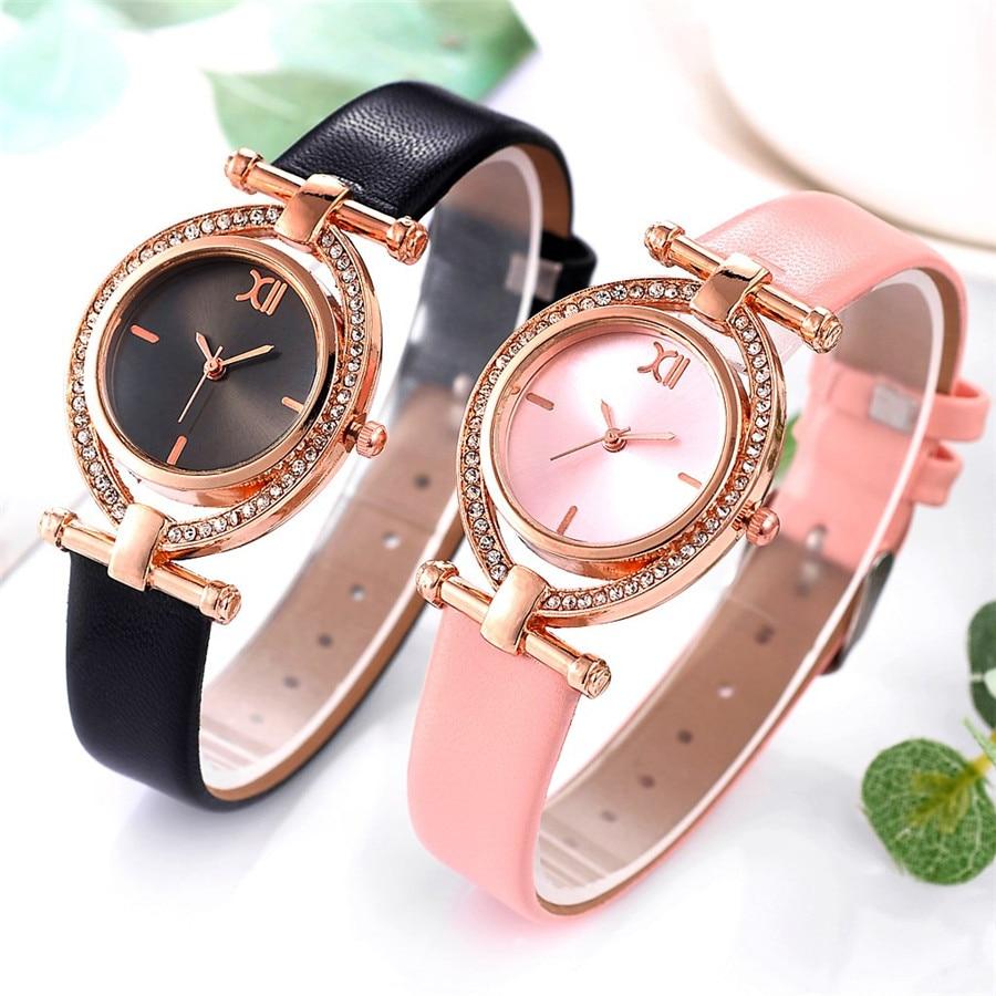Moda Casual nuevo Reloj de cuarzo para Mujer correa de cuero Reloj de cuarzo analógico esfera de diamante de cristal Reloj de Mujer Reloj Mujer Y30