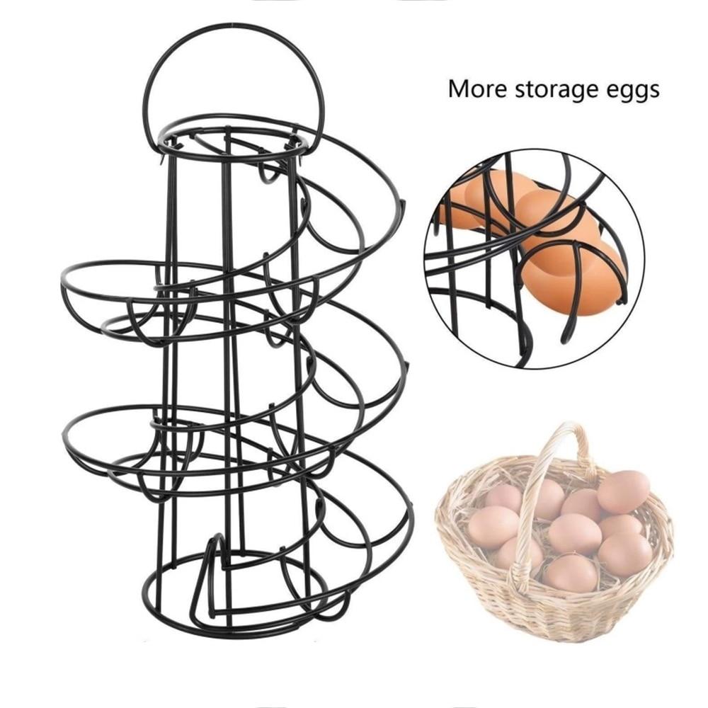 Suporte de ovo espiral multi-funcional quadro de ovo mental sstorage rack design espiral ovo cesta suporte de ovo suporte de cozinha acessórios