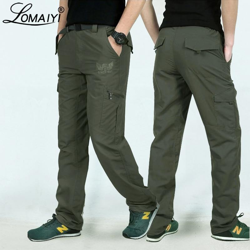 Мужские брюки-карго LOMAIYI, летние брюки-карго в Военном Стиле, быстросохнущие брюки для мужчин, армейский зеленый, черный, повседневные брюки ...