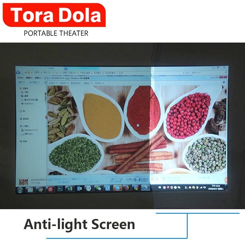 TORA DOLA Anti-licht Bildschirm 169 Reflektierende Stoff 60/100/120 Zoll für LED, verstreut Projektor Bildschirm Für Full HD projektor