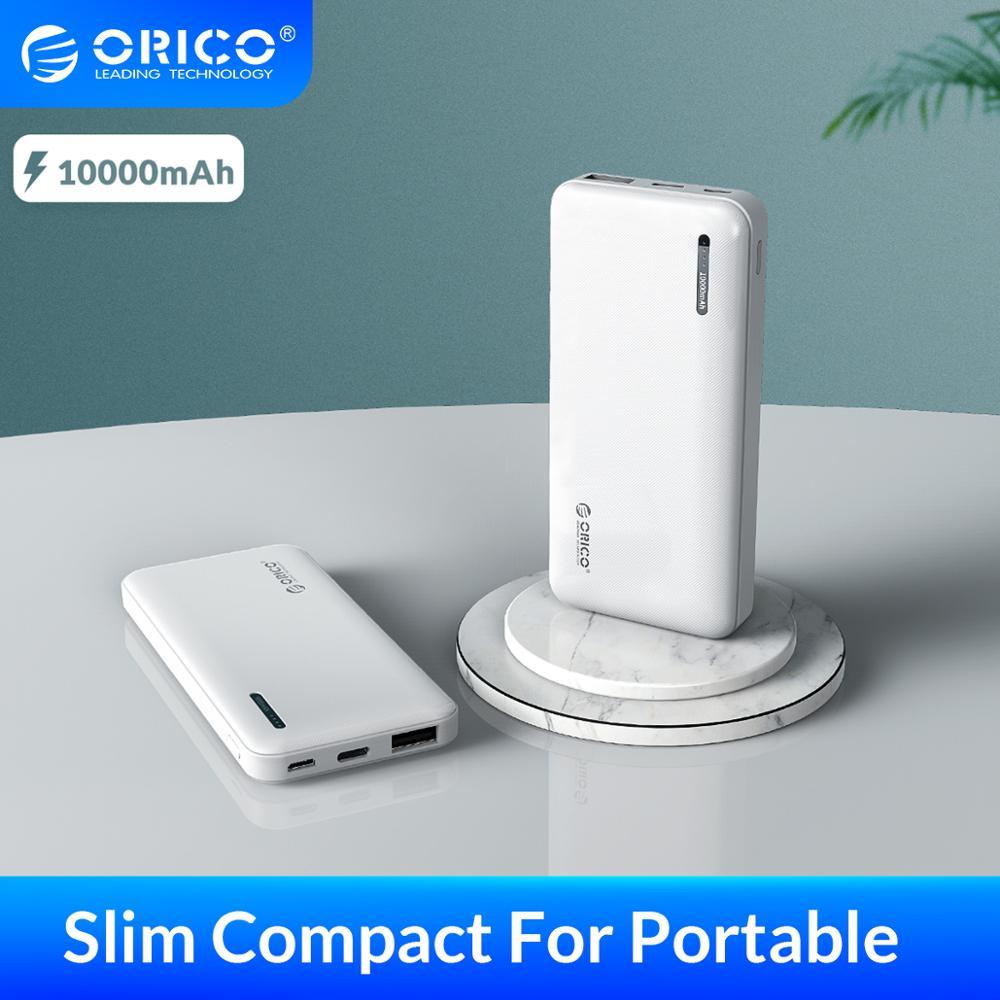 Banco de energía compacto Delgado ORICO 10000mAh para Xiaomi batería externa portátil USB tipo-c Powerbank para iphone Smarphone