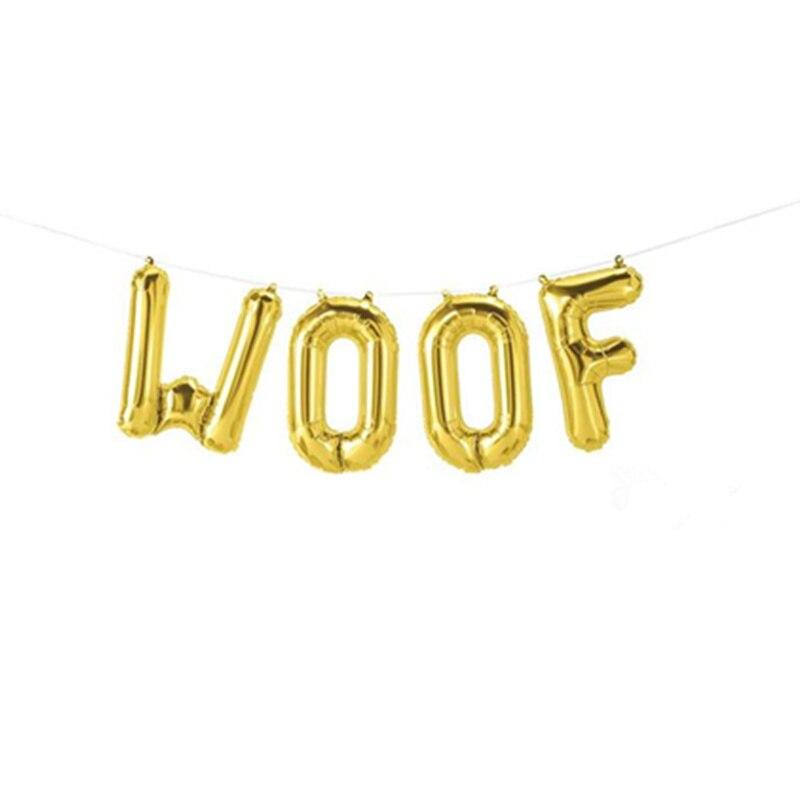 "16 ""oro Miau globo Rosa oro gato cumpleaños decoración perro fiesta plata Woof globo Banner mascota fiesta globo"